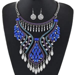 Set Kalung Anting Hollow Out Water Drop Pattern Design waterdrops design hollow fashion necklace and coin earrings set silver and blue