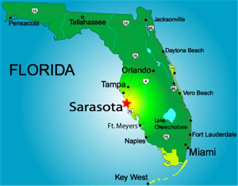 where is sarasota florida located on the map florida map map state
