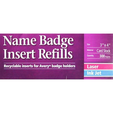 avery template 5392 avery name badge insert refills 3 quot x 4 quot 6up 50 sheets
