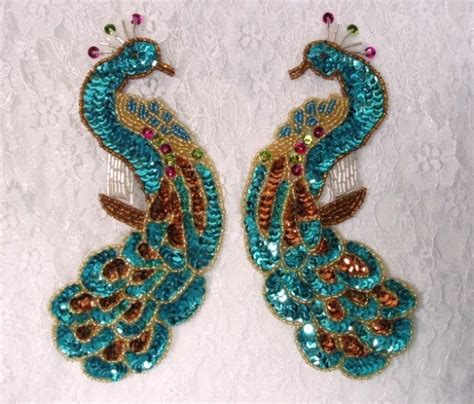 peacock applique turquoise sequin beaded applique peacock