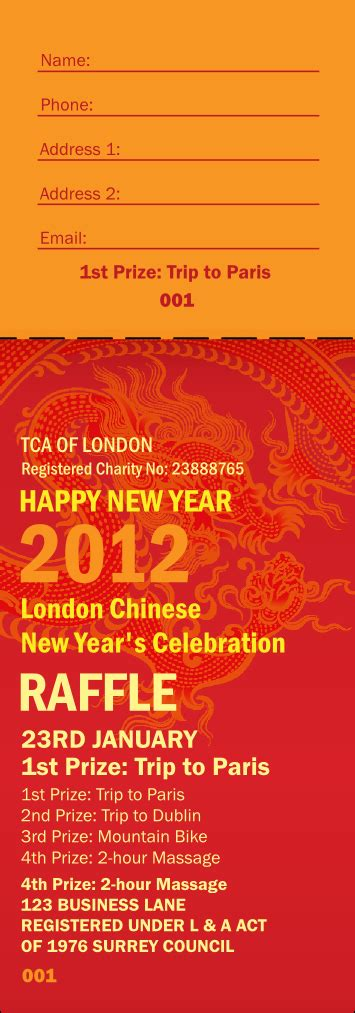 Chinese New Year Raffle Ticket New Years Ticket Template