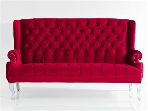 red tufted sofa 3 seater tufted fabric sofa barocco red by kare design