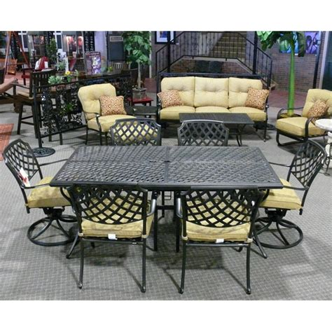 heritage patio furniture 9 heritage aluminum patio set by agio select family leisure