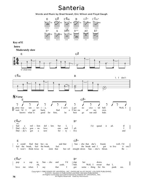 Sublime Santeria Guitar Chords