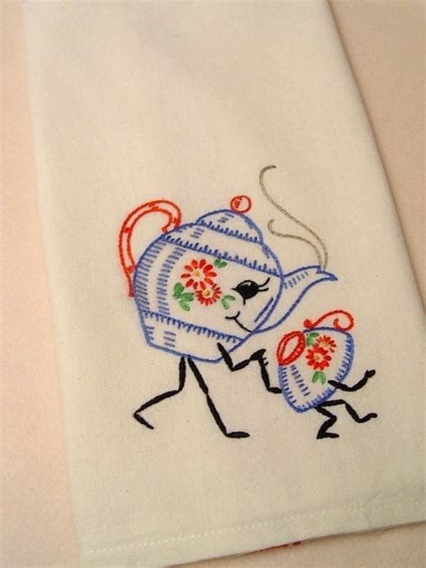 free kitchen embroidery designs friendship tea hand embroidered kitchen towel with