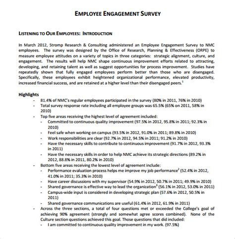Employee Engagement Report Template Employee Engagement Survey 13 Free Documents