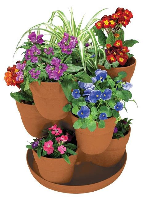 planters and pots bloomers 3 tier flower tower planter herbs garden plant