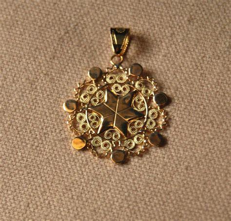 Handmade Filigree Jewelry - handmade gold filigree sequin pendant pendant necklaces