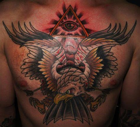 eagle tattoo breast chest old school eagle tattoo by border line tattoos