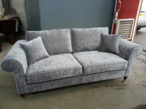 Grey Sofa Bespoke 3 Seater Sofa Settee Silver Grey Velvet Various