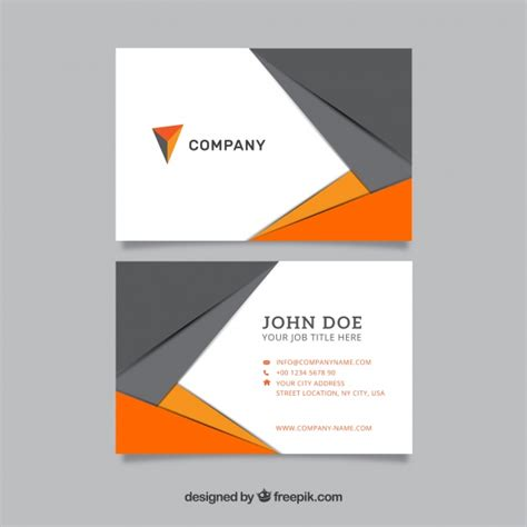 Card Template Freepik by Modern Business Card In Gray And Orange Vector Free