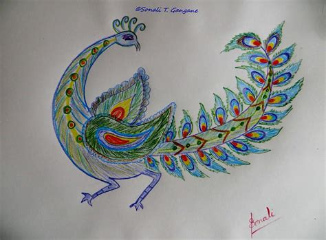 Draw Plans Online colourful bird drawing by sonali gangane