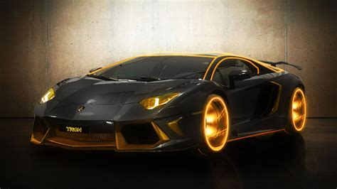 luxury lamborghini aventador gold wallpaper hd