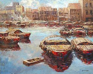 sailing boat singapore old singapore river boat quay oil painting stuff in