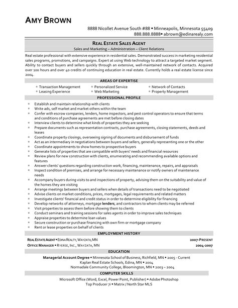 free real estate agent resume sle