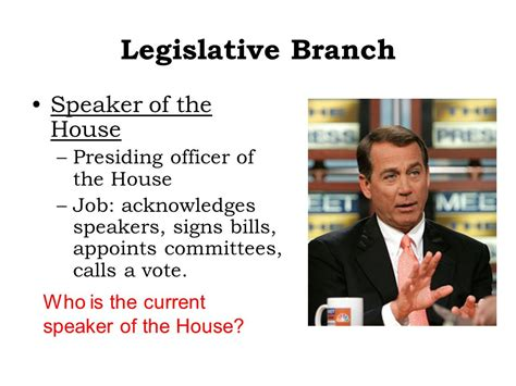 who is the presiding officer of the house of representatives branches of government ppt download