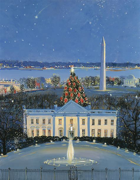 sally caldwell fisher white house at christmas canvas