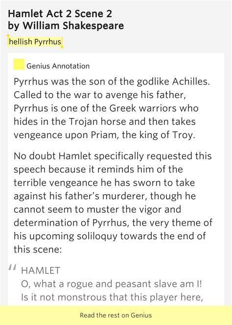 themes in hamlet act 2 scene 2 hellish pyrrhus hamlet act 2 scene 2 by william shakespeare