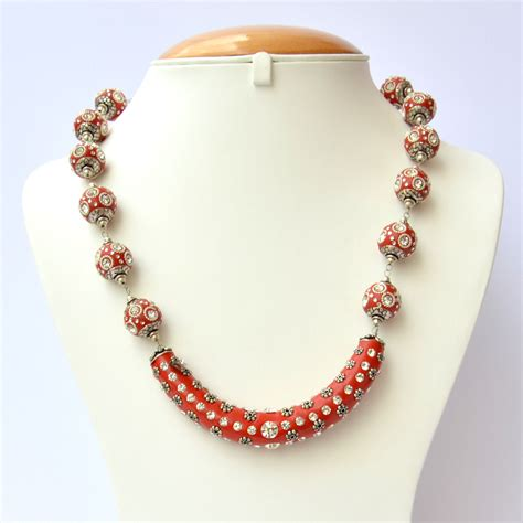 Handmade Bead Necklace - handmade necklace studded with rhinestones