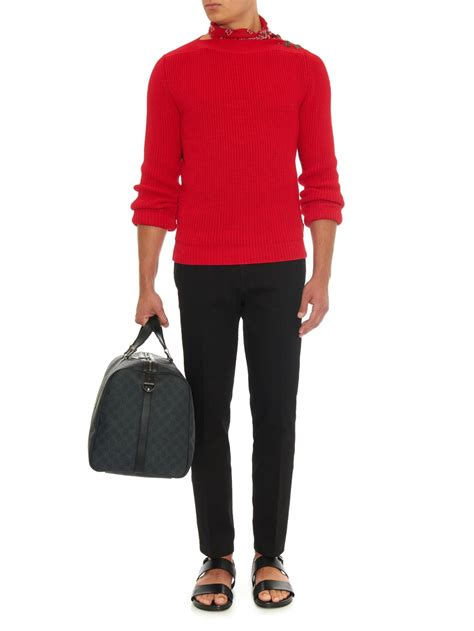 red boat neck sweater lyst gucci boat neck chunky knit sweater in red for men