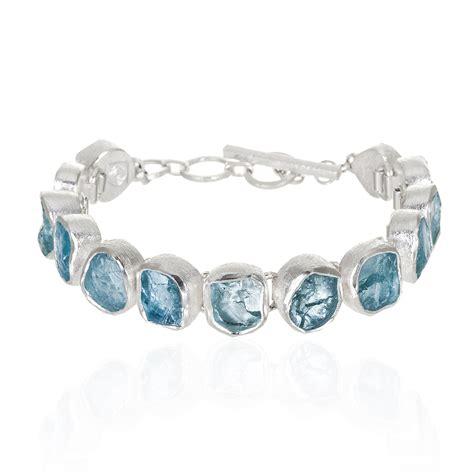 Handcrafted Sterling Silver Bracelets - aquamarine gemstone designer handmade sterling silver