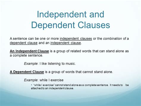exle of dependent clause sentence types ppt