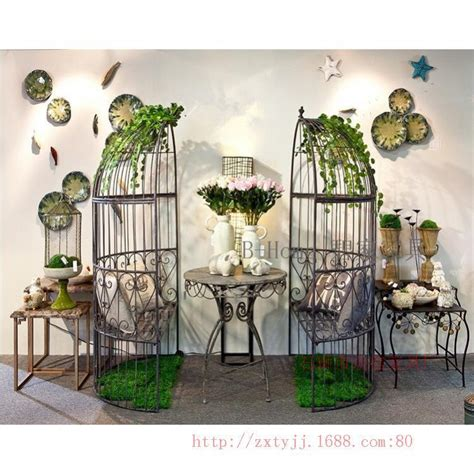 Set Of 6 Deco Outdoor Painted Iron Armchairs Iron Birdcage Decorative Outdoor Coffee Bar Stool