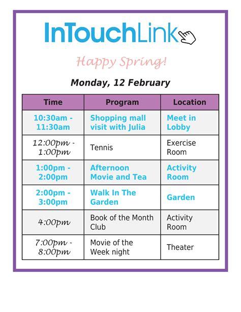 assisted living activity calendar template activity calendar management in senior living communities
