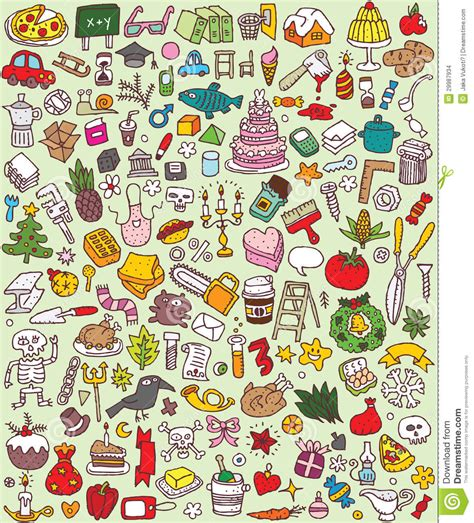doodle theme free big doodle icons set stock vector image of color file