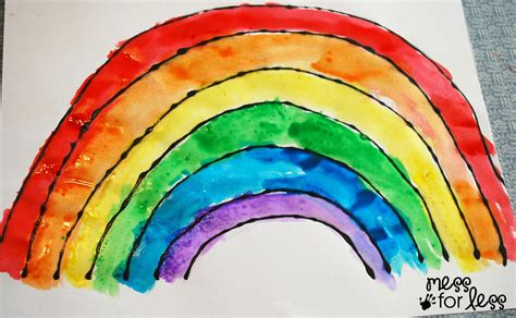 painting rainbow black glue and salt watercolor rainbow salt painting for