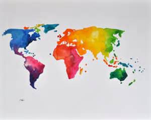 colorful world map original abstract world map painting colorful decorative