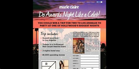 Marie Claire Sweepstakes - marie claire hollywood red carpet party sweepstakes