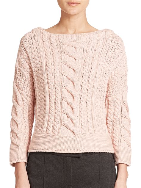 pink cable knit sweater weekend by maxmara rana cable knit sweater in pink lyst