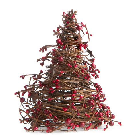 cone tree red grapevine twig and pip berry cone tree christmas and