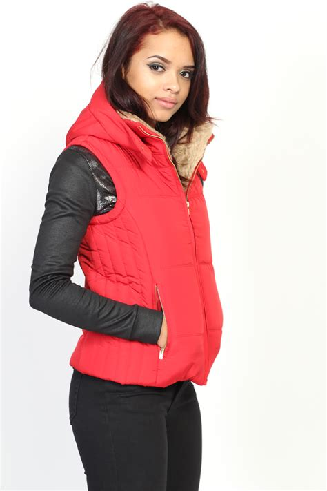 Lust List Shearling Puffer Vest by Themogan Faux Fur Collar Hooded Puffer Vest Sleeveless