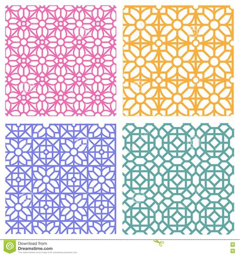 seamless korean pattern seamless floral pattern in korean stencil style stock