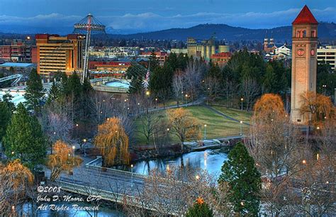 park spokane a look between the clocktower and riverfront park s us pavilion riverfront park