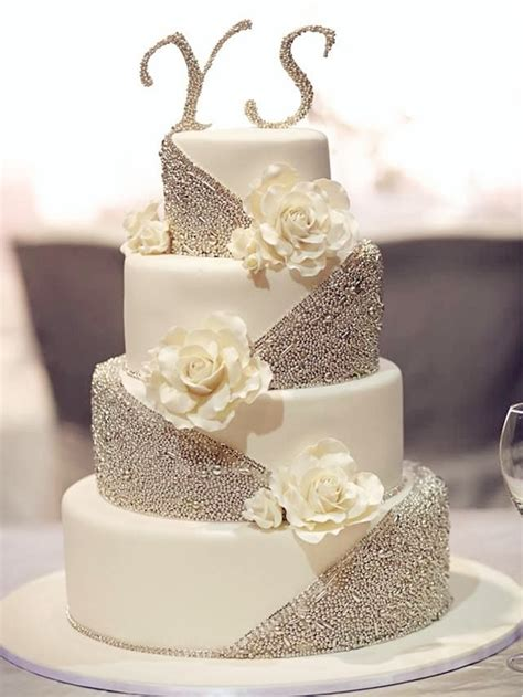 Silver Wedding Cake by 20 Gorgeous Wedding Cakes That Wow