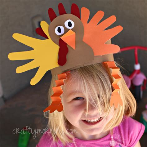 Handprint Turkey Hat For A Thanksgiving Craft Crafty Morning Turkey Hat Craft Template