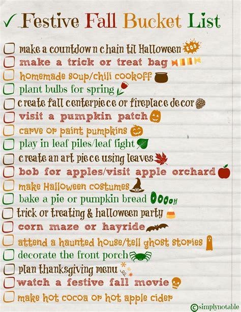 festive fall bucket list free printable simply notable