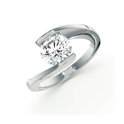 swirl bezel set ring in 14k white gold