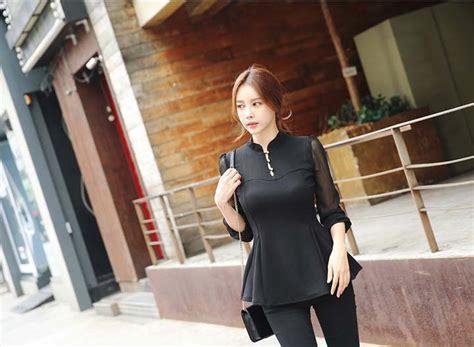 Dress Korea Floral Biru Import blouse korea murah 2016 lace henley blouse
