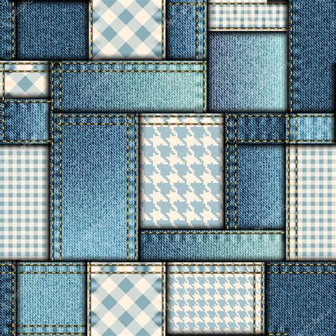 Denim Patchwork Fabric - patchwork of denim fabric stock vector 169 kastanka 72495019