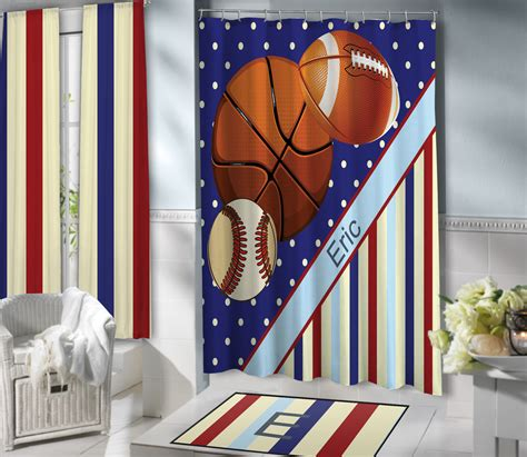 sports themed curtains blue boys sports themed shower curtain with baseball
