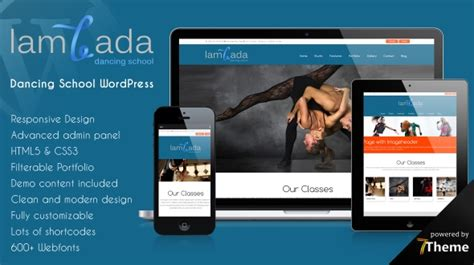 theme wordpress dance lambada wordpress theme for dance schools and dance studios