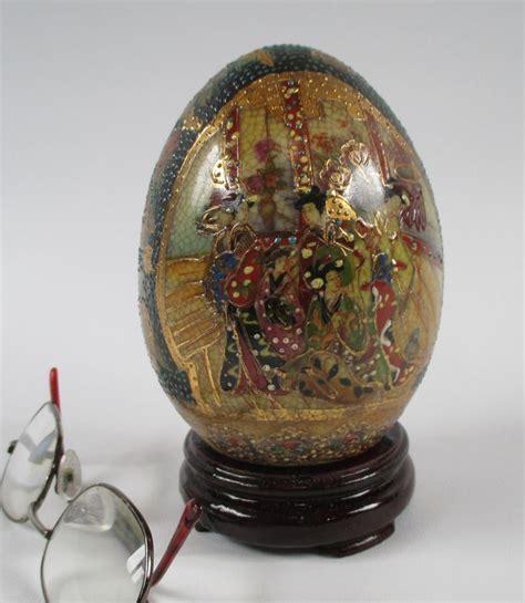 satsuma decorative eggs satsuma egg vintage decorative asian porcelain gold red