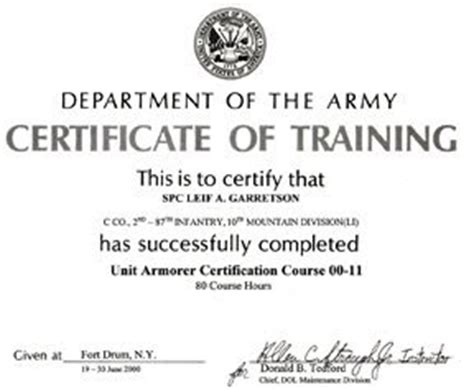 army certificate of completion template remembering leif november 2008