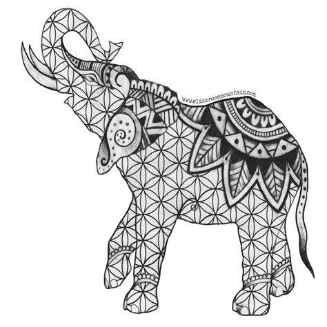 Mehndi Elephant Coloring Page | henna elephant sticker elisa rose mountain