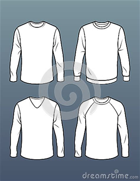 Set Of 4 Long Sleeve T Shirt Templates Stock Illustration Image 41445726 Sleeve Shirt Design Template