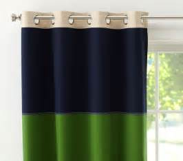 Navy And Green Curtains Designs Rugby Blackout Panel Navy Green Contemporary Curtains By Pottery Barn